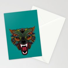 wolf fight flight teal Stationery Cards