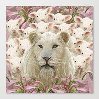 Lambs led by a lion Canvas Print