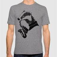 Badger Saxophone Mens Fitted Tee Tri-Grey SMALL