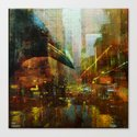 Crow in the geometrical city Canvas Print