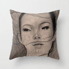 Stringy Girl Throw Pillow