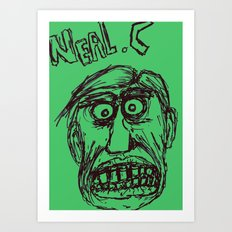 Neal cassady in green Art Print