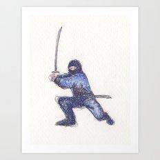 Blue Ninja Art Print