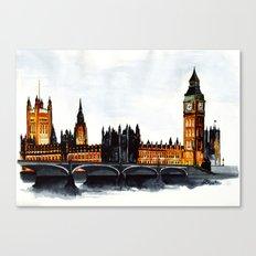 London, Big Ben, parliament, Watercolour Canvas Print