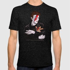 David & The cat Mens Fitted Tee Tri-Black SMALL
