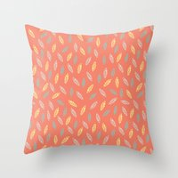 fall feathers Throw Pillow