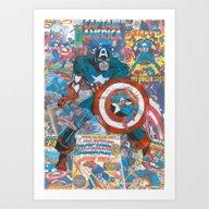 Vintage Comic Capt Ameri… Art Print