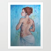 The Woman with Strange Tattoos Art Print