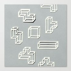 Tetris Papercut Canvas Print