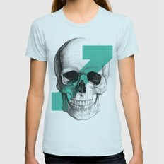 skull7 Womens Fitted Tee Light Blue SMALL