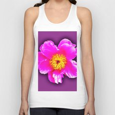 Pink flower on a wintry background Unisex Tank Top