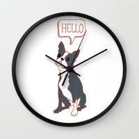 Boston Terrier, Hello, Red, Black, Grey Wall Clock