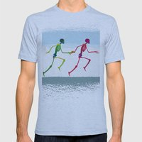 Running Sketeton With Ba… Mens Fitted Tee Athletic Blue SMALL