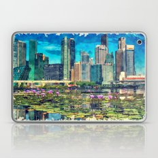Singapore City With Lotus Blossom - Watercolor And Sketch Laptop & iPad Skin