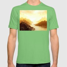 Mysterious Mountains Wat… Mens Fitted Tee Grass SMALL