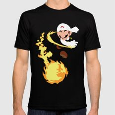 Mario - Fire Flower Mario Black SMALL Mens Fitted Tee