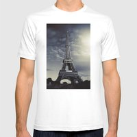 Dark Eiffel Mens Fitted Tee White SMALL