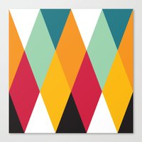 Yellow Orange Red Blue Black Diamond Pattern  Canvas Print
