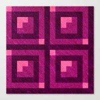 Magenta Pixel Blocks Canvas Print