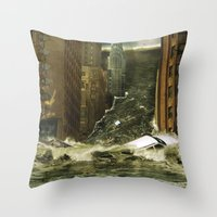 Water vs City Throw Pillow