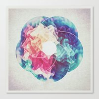 Geometry Triangle Wave Multicolor Mosaic Pattern - (HDR - Low Poly Art) Canvas Print