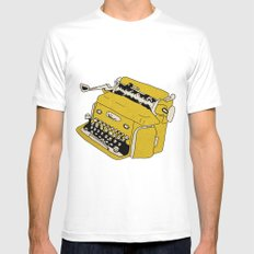 Grunge Typewriter Mens Fitted Tee White SMALL