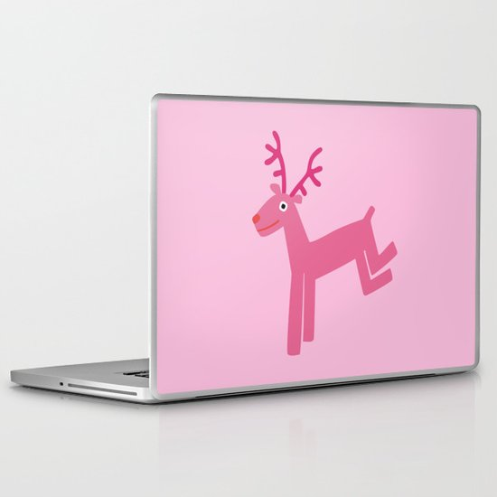 Reindeer-Pink Laptop & iPad Skin