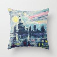 Magical City Evening Throw Pillow