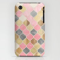 iPhone 3Gs & iPhone 3G Cases featuring Silver Grey, Soft Pink, Wood & Gold Moroccan Pattern by micklyn