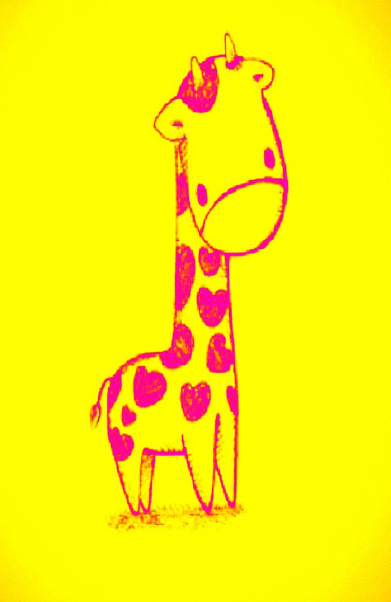 Pink Cute Giraffe Art Print