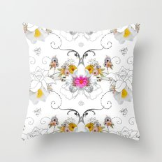 Paper Flowers Throw Pillow