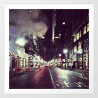 Manhattan Midtown At Nig… Art Print
