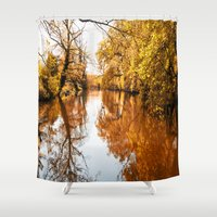 Natural lake in autumn Shower Curtain