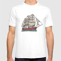 Sailing Ship Mens Fitted Tee White SMALL