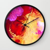 Abstract Painting Red Go… Wall Clock