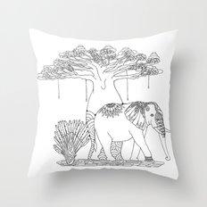 Colouring Canvas - Baobab, a trip to Madagascar. Throw Pillow