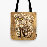 Steampunk Cat Vintage Style Tote Bag