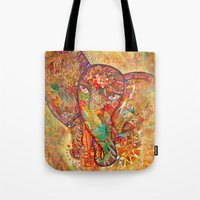 Red  Divine Runes Elepha… Tote Bag