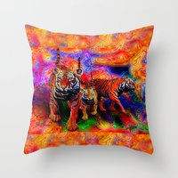 Psychedelic Tigers Throw Pillow