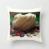 Handspun Yarn in a Field of Buttons Throw Pillow