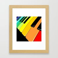 Piano Keyboard Rainbow Colors  Framed Art Print