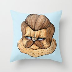 Ron Swanson Cat Throw Pillow