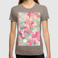 Romantic Pink Retro Flor… Womens Fitted Tee Tri-Coffee SMALL