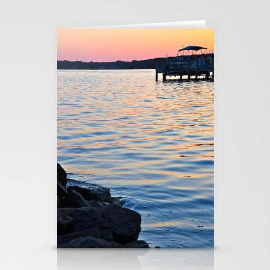 Sunset on the Bay Stationery Card