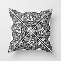 Black Lotus Lace Illustration Pattern Throw Pillow