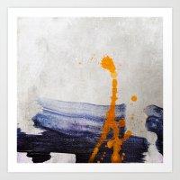 Brush Strokes Blue Orang… Art Print