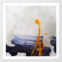 brush strokes blue orange Art Print