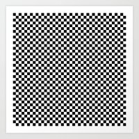 Black and White Checkers Art Print