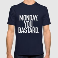 Monday You Bastard Mens Fitted Tee Navy SMALL