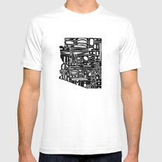 Typographic Arizona White Mens Fitted Tee SMALL